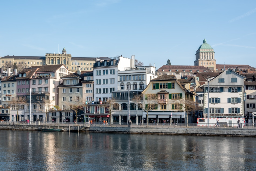 Historical buildings along the riverside in Zurich, Switzerland
