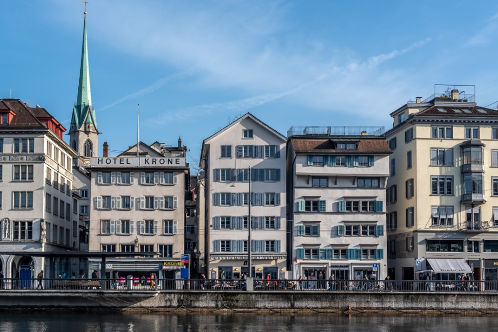 Historic buildings on the riverside in Zurich